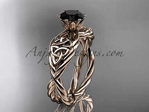 14kt rose gold Black Diamond celtic engagement ring RPCT970