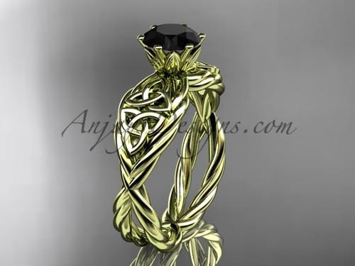 14kt yellow gold black diamond celtic wedding ring RPCT970