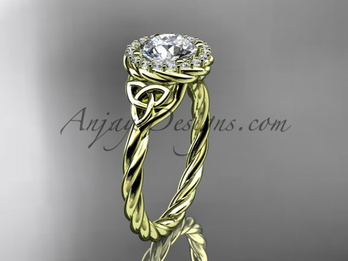 14kt yellow gold rope celtic engagement ring RPCT997