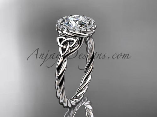 14kt white gold rope moissanite celtic bridal ring RPCT997