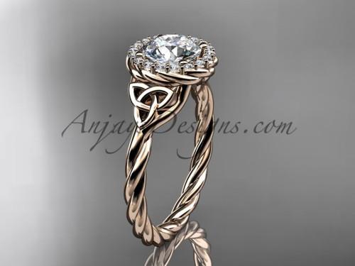 14kt rose gold rope moissanite celtic bridal ring RPCT997