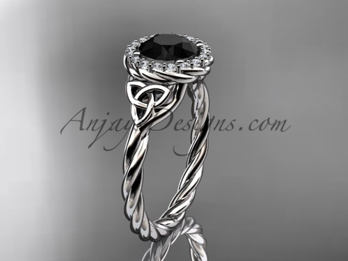 14kt white gold rope Black Diamond Celtic Bridal ring RPCT997