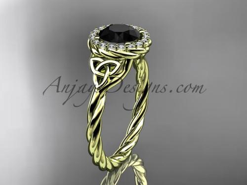 14kt yellow gold rope Black Diamond Celtic Bridal ring RPCT997