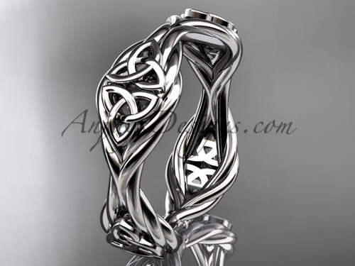 14k white gold rope celtic trinity knot wedding band RPCT998G