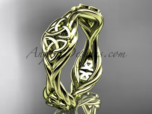 14k yellow gold rope celtic trinity knot wedding band RPCT998G
