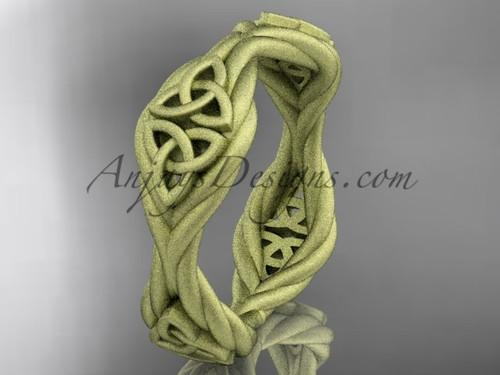 14k yellow gold matte finish  rope celtic wedding band RPCT998G