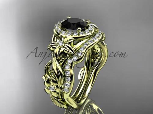 14kt yellow gold diamond unique engagement set, wedding set with a Black Diamond center stone ADLR300
