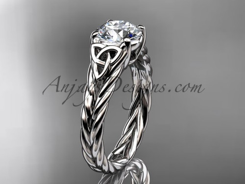 """platinum celtic rope engagement ring with a """"Forever One"""" Moissanite center stone RPCT9108"""