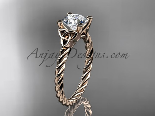 14kt rose gold rope triquetra celtic engagement ring RPCT9116