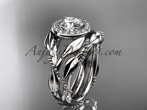 14kt white gold moissanite leaf engagement set adlr328s