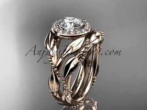 14kt rose gold moissanite leaf engagement set adlr328s