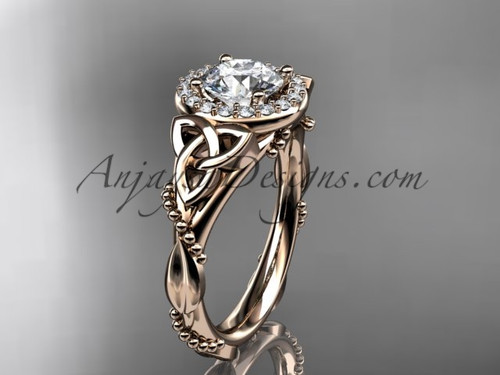 "14kt rose gold diamond celtic trinity knot wedding ring, engagement ring with a ""Forever One"" Moissanite center stone CT7328"
