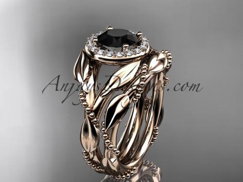 14kt rose gold black diamond leaf engagement set adlr328s