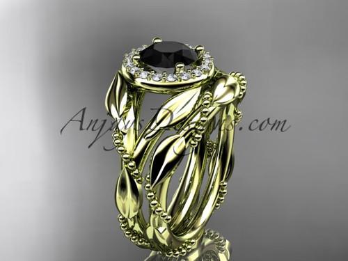 14kt yellow gold black diamond leaf engagement set adlr328s