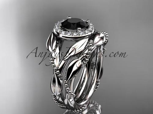 Platinum black diamond leaf engagement set adlr328s