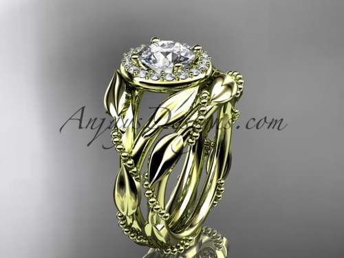 14kt yellow gold sapphire leaf engagement set adlr328s