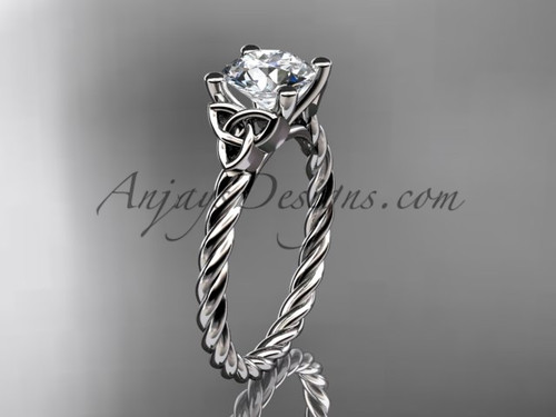 """14kt white gold rope triquetra celtic engagement ring with a """"Forever One"""" Moissanite center stone RPCT9116"""