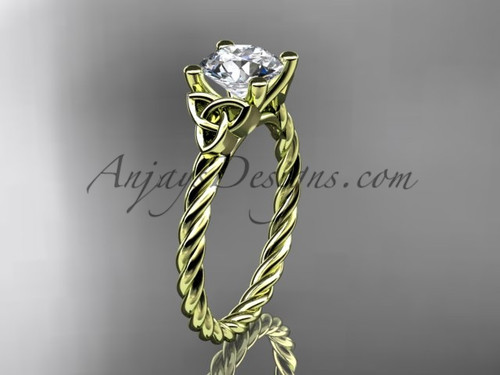"""14kt yellow gold rope triquetra celtic engagement ring with a """"Forever One"""" Moissanite center stone RPCT9116"""