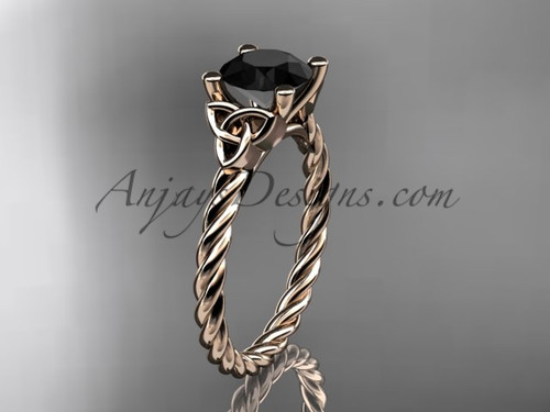 14kt rose gold rope triquetra celtic engagement ring with a Black Diamond center stone RPCT9116
