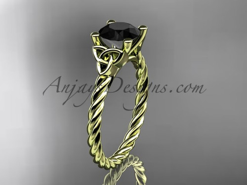 14kt yellow gold rope triquetra celtic engagement ring with a Black Diamond center stone RPCT9116