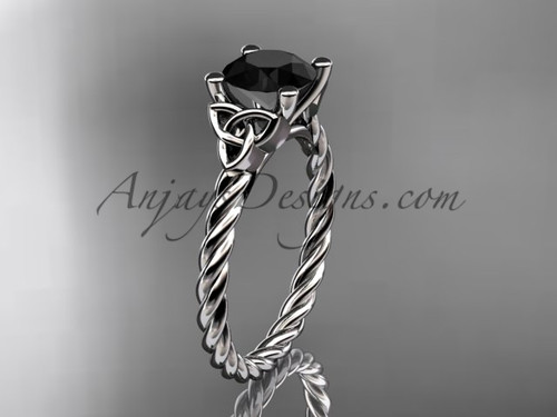 Platinum rope triquetra celtic engagement ring with a Black Diamond center stone RPCT9116