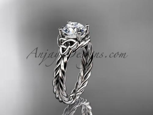 Platinum rope triquetra celtic engagement ring RPCT9112