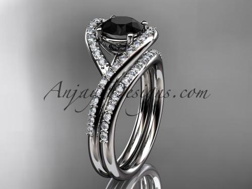 platinum diamond wedding ring, engagement set with a Black Diamond center stone ADLR383S