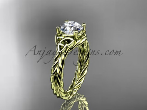 """14kt yellow gold rope triquetra celtic engagement ring with a """"Forever One"""" Moissanite center stone RPCT9112"""