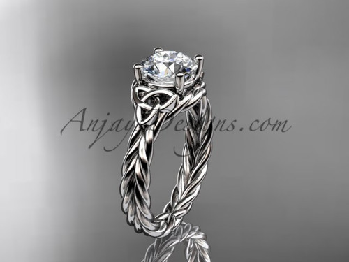 """Platinum rope triquetra celtic engagement ring with a """"Forever One"""" Moissanite center stone RPCT9112"""