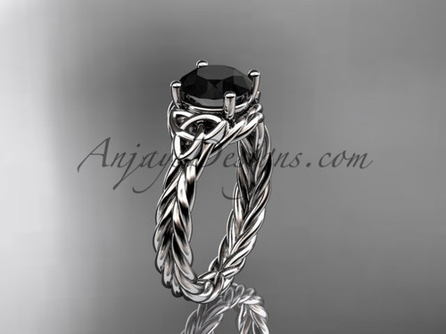 14kt white gold rope triquetra celtic engagement ring with a Black Diamond center stone RPCT9112