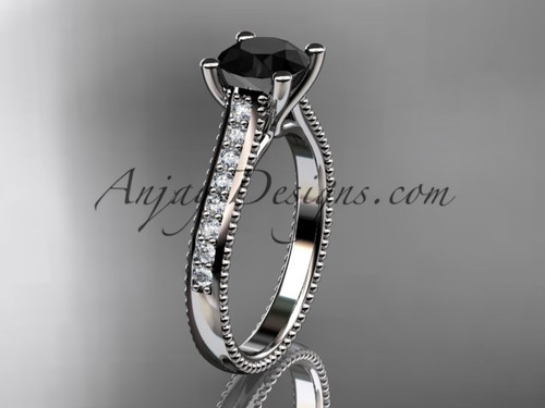 14kt white gold diamond unique engagement ring, wedding ring with a Black Diamond center stone ADER116