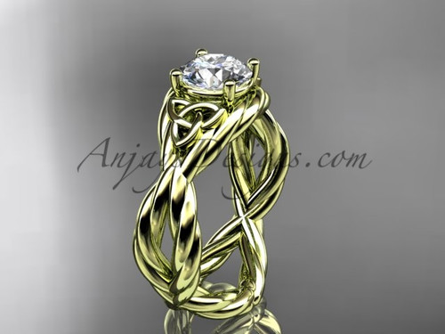 14k yellow gold twist triquetra engagement ring RPCT9181