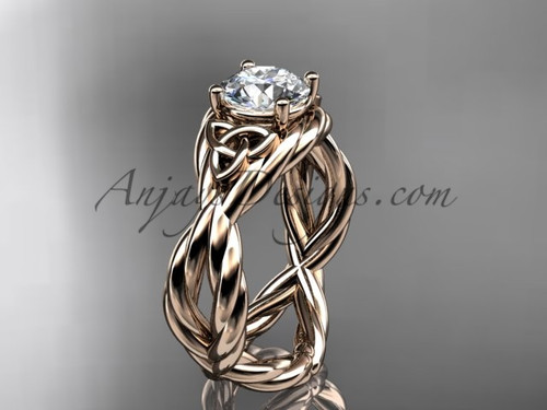 14k rose gold moissanite celtic engagement ring RPCT9181