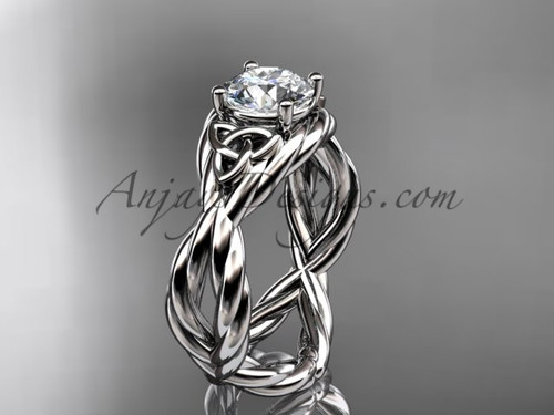 platinum moissanite celtic engagement ring RPCT9181