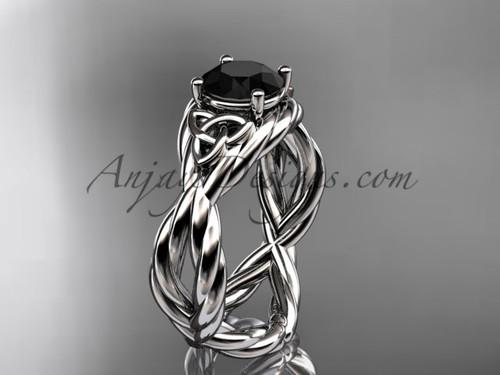 14k white gold black diamond celtic wedding ring RPCT9181