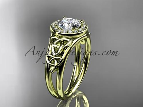 14kt yellow  gold diamond celtic trinity knot wedding ring, engagement ring CT7131
