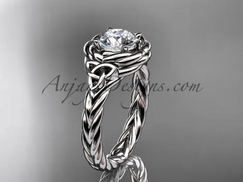 14kt white gold celtic moissanite engagement ring RPCT9201
