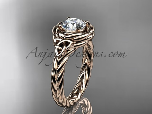 14kt rose gold celtic moissanite engagement ring RPCT9201