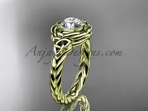 14k yellow gold celtic moissanite engagement ring RPCT9201