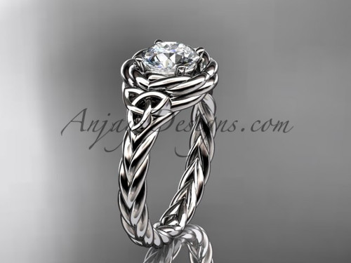 platinum celtic moissanite engagement ring RPCT9201