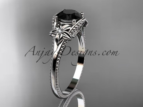 Black Diamond center White Gold Flower Wedding Ring ADLR375