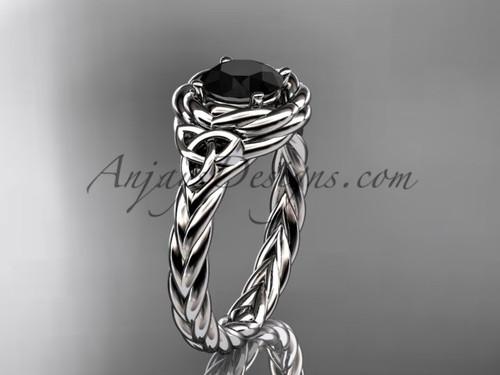 14kt white gold celtic black diamond wedding ring RPCT9201