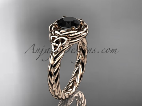 14kt rose gold celtic black diamond wedding ring RPCT9201