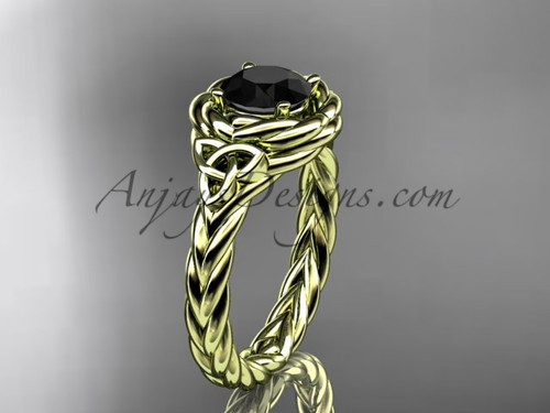 14kt yellow gold celtic black diamond wedding ring RPCT9201