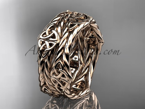 14k rose gold twisted rope celtic wedding band RPCT9357G