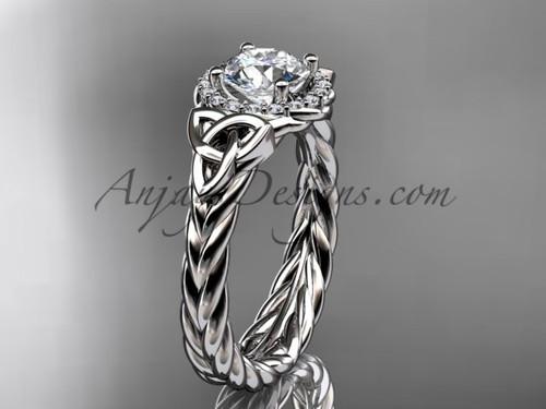 14kt white gold moissanite rope engagement ring RPCT9380
