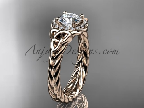 14kt rose gold moissanite rope engagement ring RPCT9380