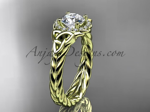 """14kt yellow gold rope celtic trinity diamond engagement ring  with a """"Forever One"""" Moissanite center stone  RPCT9380"""