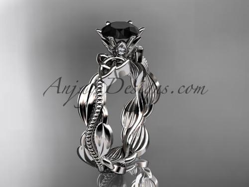 platinum diamond celtic trinity knot wedding ring, engagement ring with a Black Diamond center stoneCT7258
