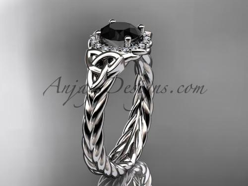 14kt white gold black diamond rope engagement ring RPCT9380